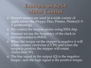 Example on 8254 Motor Control