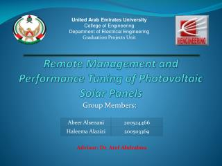 Remote Management and  Performance  T uning  of  Photovoltaic  S olar  P anels