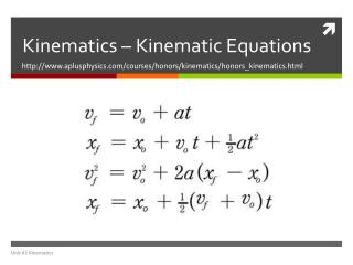 Kinematics –  Kinematic Equations