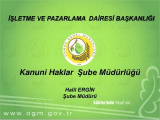 Kanuni Haklar  Şube Müdürlüğü Halil ERGİN Şube Müdürü