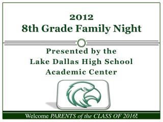 2012 8th Grade Family Night