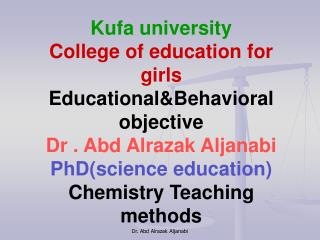 Kufa university College of education for girls Educational&Behavioral objective