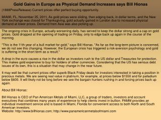 Gold Gains in Europe as Physical Demand Increases says Bill