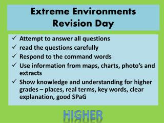 Extreme Environments  Revision Day
