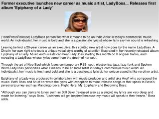 Former executive launches new career as music artist, LadyBo