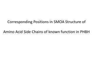 Corresponding Positions in SMOA Structure of  Amino Acid Side Chains of known function in PHBH