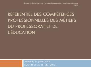 Référentiel des compétences professionnelles des métiers du professorat et de l'éducation