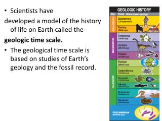 Scientists have developed a model  of the history of  life  on Earth  called the