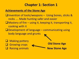 Achievements of the Stone  Age