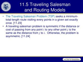 11.5 Traveling Salesman  and Routing Models