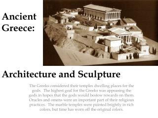 Ancient  Greece: Architecture and Sculpture