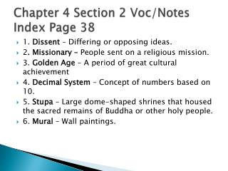 Chapter 4 Section 2 Voc/Notes Index Page 38