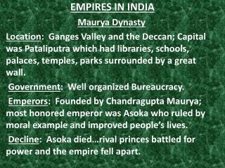 EMPIRES  IN INDIA