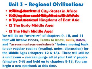 Unit 3 – Regional Civilizations
