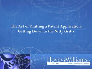 The Art of Drafting a Patent Application: Getting Down to the Nitty Gritty