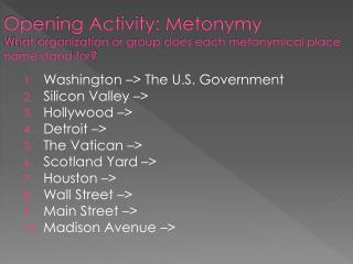 Opening Activity: Metonymy What organization or group does each metonymical place name stand for?
