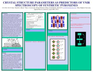 CRYSTAL STRUCTURE PARAMETERS AS PREDICTORS OF  VNIR  SPECTROSCOPY OF SYNTHETIC PYROXENES