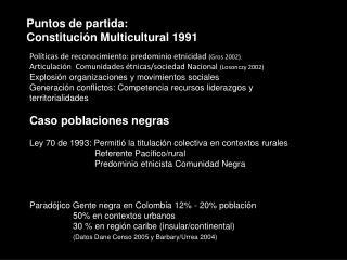 Puntos de partida: Constitución Multicultural 1991