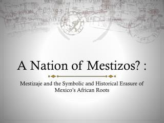 A  Nation  of  Mestizos?  :