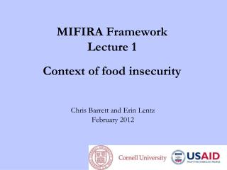MIFIRA Framework Lecture 1 Context  of  f ood  i nsecurity