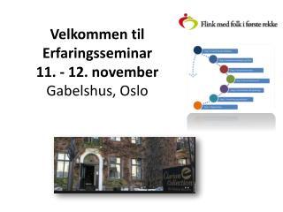 Velkommen til Erfaringsseminar 11 . - 12.  november Gabelshus ,  Oslo