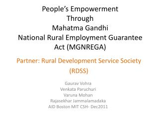 People's Empowerment Through Mahatma Gandhi  National Rural Employment Guarantee Act (MGNREGA)