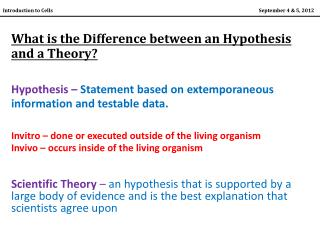 What is the Difference between an Hypothesis and a Theory?