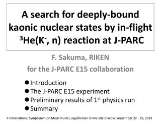 A search for deeply-bound  kaonic  nuclear states by in-flight  3 He(K - , n) reaction at J-PARC