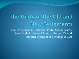 The Unity of the Old and New Testaments