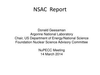 NSAC  Report