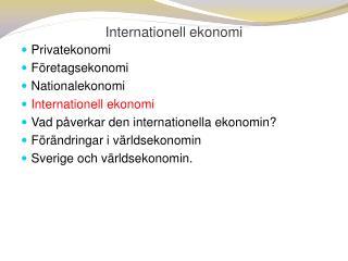 Internationell ekonomi