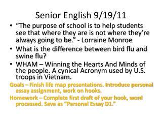 Senior English 9/19/11