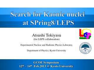 Atsushi  Tokiyasu (for LEPS collaboration)
