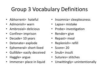 Group 3 Vocabulary Definitions