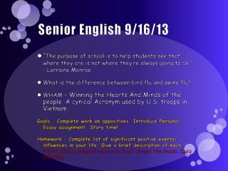 Senior English 9/16/13