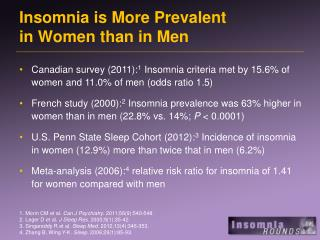 Insomnia is More Prevalent  in Women than in Men