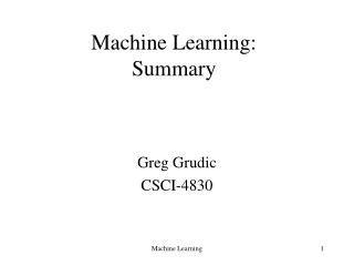 Machine Learning: Summary