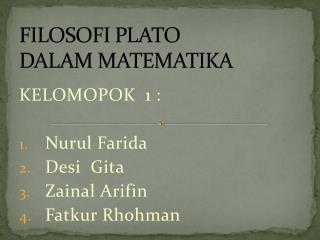 FILOSOFI PLATO  DALAM MATEMATIKA