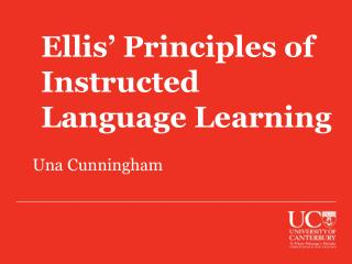 Ellis' Principles of Instructed Language Learning