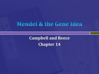 Mendel & the Gene Idea