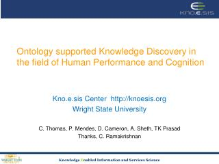 Ontology supported Knowledge Discovery in the field of Human Performance and Cognition