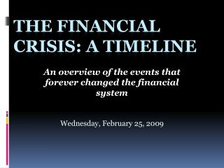 The Financial Crisis: A Timeline