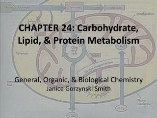 CHAPTER 24: Carbohydrate, Lipid, & Protein Metabolism General, Organic, & Biological Chemistry