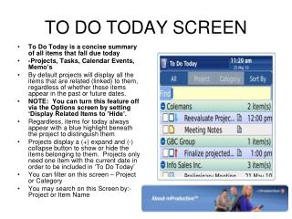 TO DO TODAY SCREEN