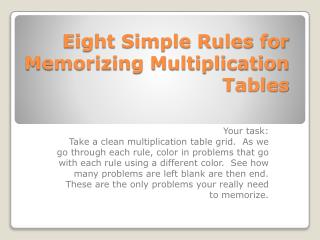 Eight Simple Rules for Memorizing Multiplication Tables