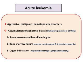 Aggressive  malignant  hematopoietic disorders
