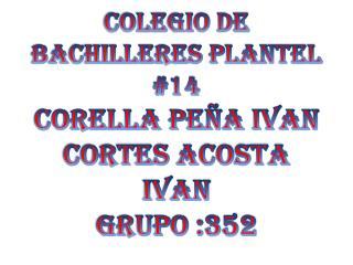 COLEGIO DE BACHILLERES PLANTEL #14 CORELLA PEÑA IVAN cortes acosta  ivan GRUPO :352