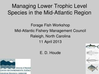 Managing Lower Trophic Level Species in the Mid-Atlantic Region