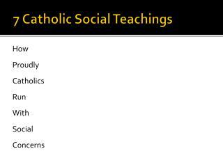 7 Catholic Social Teachings