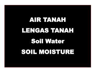 AIR TANAH LENGAS TANAH Soil Water SOIL MOISTURE